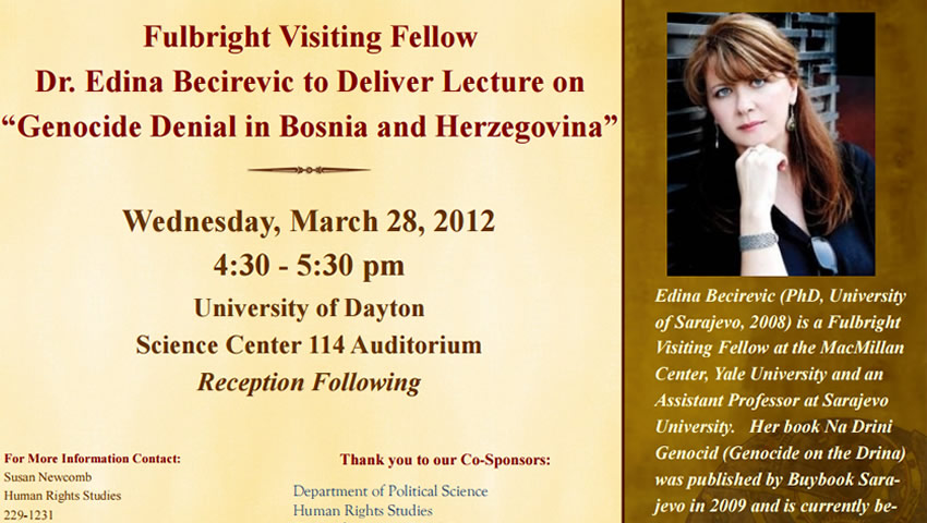 "Lecture On ""Genocide Denial In Bosnia And Herzegovina"""