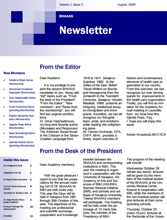 Newsletter Volume 1, Issue 2- August, 2009