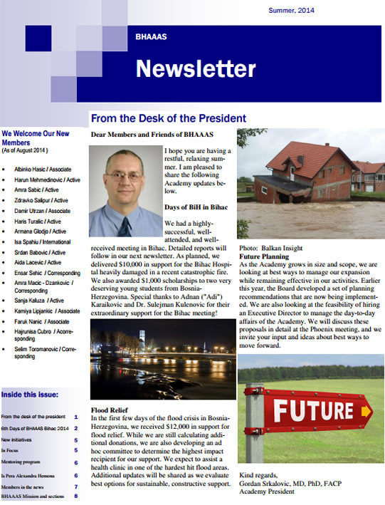BHAAAS Newsletter, August 2014