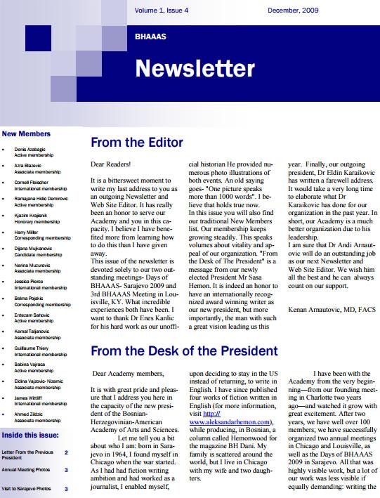 Newsletter Volume 1, Issue 4- December, 2009
