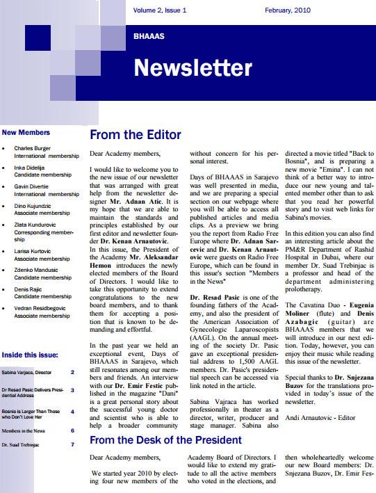 Newsletter Volume 2, Issue 1- February, 2010