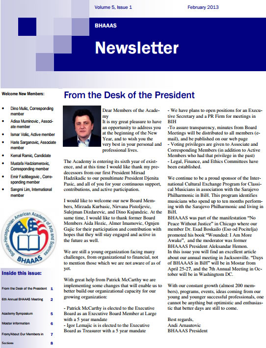 Newsletter Volume 5, Issue 1 February, 2013