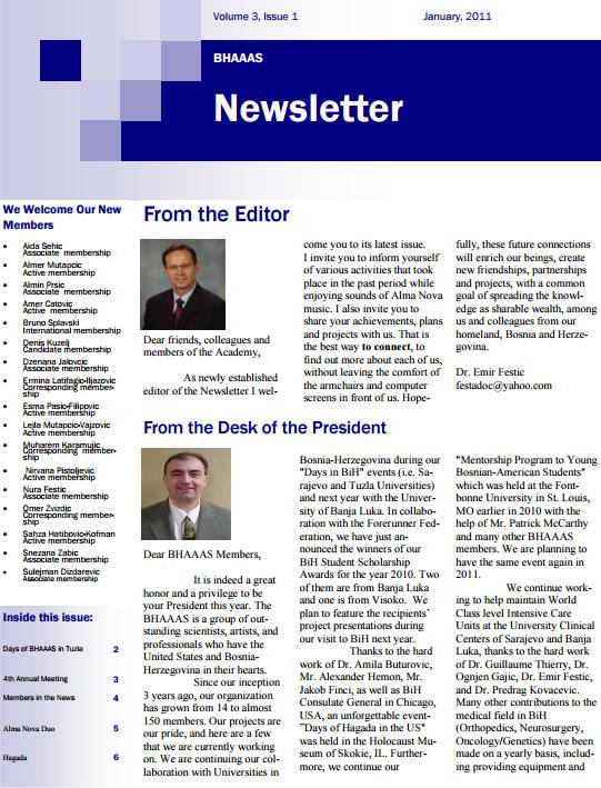 Newsletter Volume 3, Issue 1 January, 2011