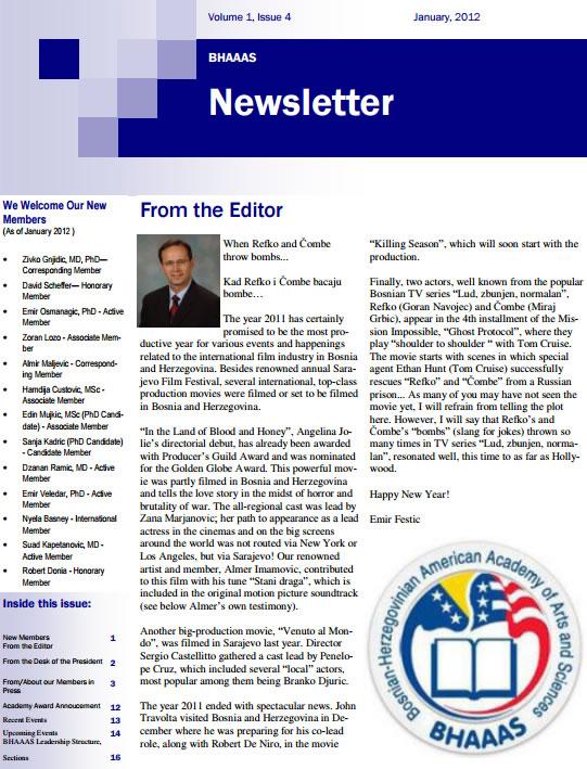 Newsletter Volume 4, Issue 1 January, 2012