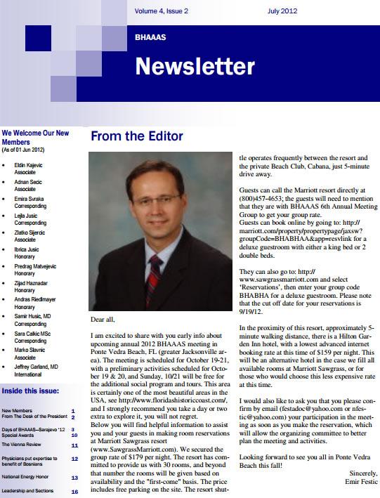 Newsletter Volume 4, Issue 2 July, 2012