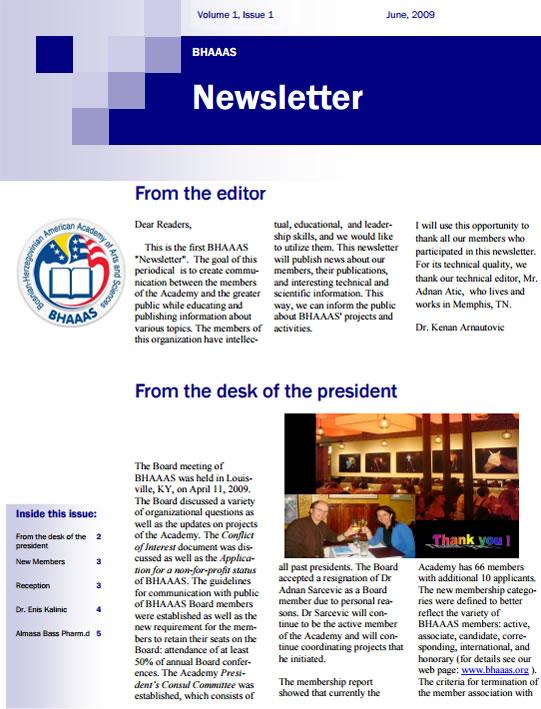 Newsletter Volume 1, Issue 1 - June, 2009