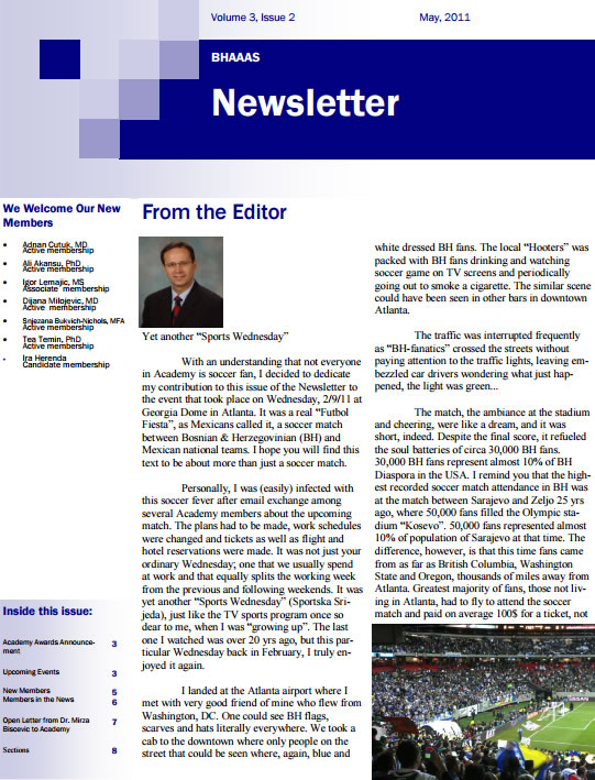 Newsletter Volume 3, Issue 2 May, 2011