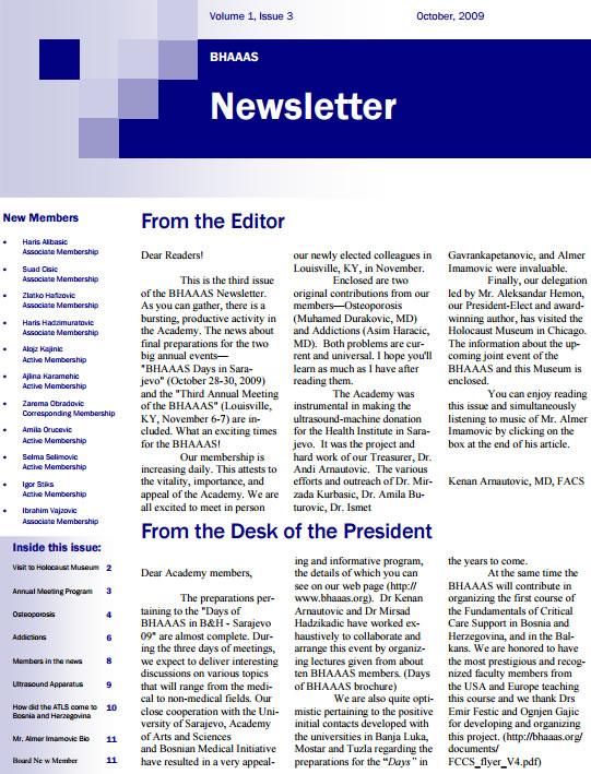 Newsletter Volume 1, Issue 3- October, 2009