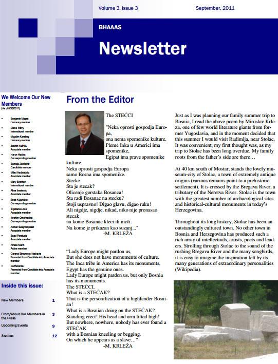Newsletter Volume 3, Issue 3 September, 2011