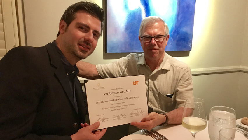 Dr Adi Ahmetspahic Receiving His Fellowship Diploma From Prof Dr Frederick Boop-